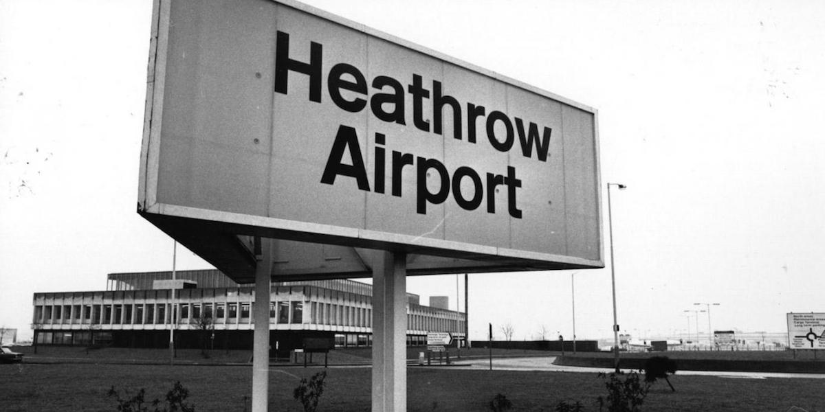 Image of an early Heathrow Airport Sign